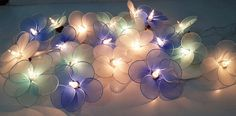 classic string lights frangipani flowers 20 blue tone by candoall