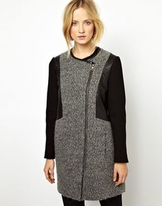 Image 1 ofWhistles Leather Jacket with Boucle Detail