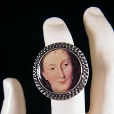 Diane de Poitiers - resin ring with excerpt from painting by Francois Clouet
