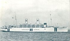 The swedish liner KUNGSHOLM, seen here in 1941 with neutral flags on the liner's hull during WWII.