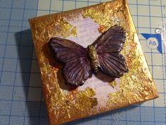 Polymer clay butterfly on canvas Dec 2013
