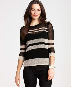 Ann Taylor - AT New Arrivals - Sheer Striped 3/4 Sleeve Sweater