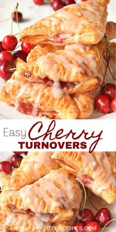 Easiest Ever Cherry Turnovers!- Ever Cherry Turnovers! Very easy,delicious homemade Cherry Turnovers recipe is what you have to try,so good with fresh cherry pie filling and with flaky puff pastry makes them perfect for breakfast and dessert too. Cherry Desserts, Köstliche Desserts, Dessert Recipes, Dessert Simple, Puff Pastry Desserts, Pastries Recipes, Cherry Pastry Recipes, Fresh Cherry Pie Recipe, Sweet Puff Pastry Recipes