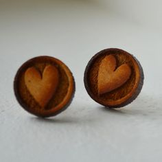 Wooden heart earrings - KAMERS Online Store - R60