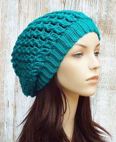 Crochet Slouchy Hat Slouchy Beret Tam Hat Womens by AlyseCrochet