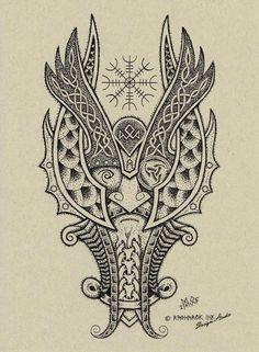 ✿ Tattoos ✿ Celtic ✿ Norse ✿ Odin Dotwork Tattoo Design by Raknarok-Ink