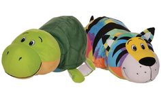 Each plush flips back and forth to reveal two cuddly stuffed animals in one. FlipaZoo plush also double as a soft pillow and are available in mini and jumbo sizes. Soft Pillows, See On Tv, Stuffed Animals, Yoshi, Plush, Toys, Mini, Gifts, Plushies