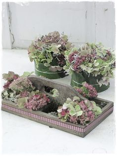 Once through the autumn garden … hydrangeas, sedum, calocephallus, calluna, ivy . How beautiful the familiar autumn beauties are always … Hera, Hydrangea Garden, Most Beautiful Gardens, Deco Floral, Diy Wedding Flowers, Garden Wedding, Garden Care, Autumn Garden, Floral Arrangements