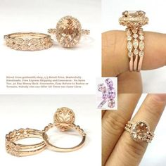 Oval Morganite Engagement Ring Trio Set Pave Diamond Wedding 14K Rose Gold 8x10mm