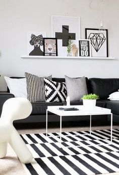 geometric black sofa decor