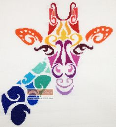 Tribal giraffe cross stitch kit