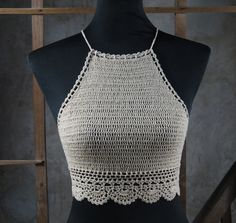 Rarefied Crocheted Crop Top Crochet Bikini Top by Handmadehomeno1