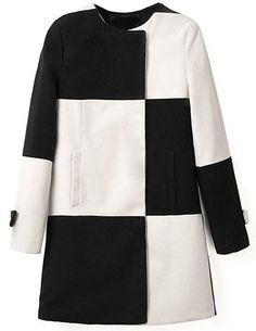 Black White Plaid Long Sleeve Woolen Coat -SheIn(Sheinside) Naisten Takit d2091e58fd