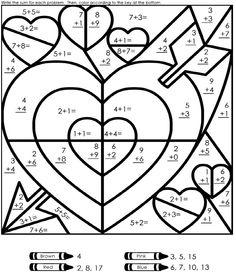 Valentine's Day Addition Worksheet - Link: http://www.superteacherworksheets.com/valentines-day/valentine-mystery-addition_WMQZR.pdf