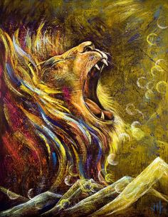 """The Lion of Judah was a symbol used by the Israelite Tribe of Judah.   The """"Lion of Judah"""" is another name for the Lord in the bible.    It's not a religion but a name for God found in the Christian Scriptures.   The lion of Judah refers to Jesus when he comes back for the end times.      In this painting,    He is roaring in the darkness for Justice to all who can hear Him. Even in the darkest times of our lives, He fights for us. The bubbles represent Beauty emanating from His being in the…"""