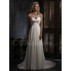 Empire Strapless Sleeveless Court Train Chiffon Maternity Wedding Dress