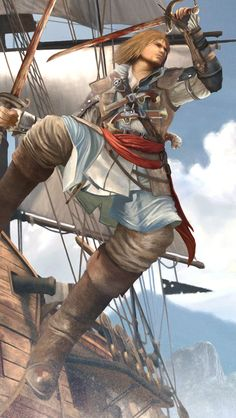 Edward Kenway from Assassin's Creed IV: Black Flag. Assassins Creed Black Flag, Assassins Creed Series, Assassins Creed Unity, Connor Kenway, Arno Dorian, All Assassin's Creed, Prince Of Persia, Jackdaw, Games
