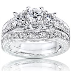 14k White Gold 1ct Round Brilliant Diamond Bridal Set ~ http://VIPsAccess.com/luxury-hotels-caribbean.html