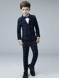 Printing Coat&Pant&Vest&Shirt&Cravat Boy Suit Sets