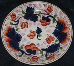 "19th Century Gaudy Welsh Grape Pattern Plate 8"" Diameter Pink Luster Ware Accents in excellent condition."