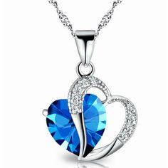 USA Fashion Jewelry Women Heart Crystal Rhinestone Silver Chain Pendant Necklace