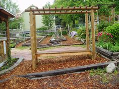 This is a bench and arbor I built in our community garden. It is now a grape arbour. It took about half a day. It is made with pressure treated landscape logs. 2 X 4 for the seat and 2 X 2 for the top trellis. The posts are set in concrete.