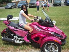 Pink Motorcycle for ERin! Tricycle, Pink Motorcycle, 3 Wheel Motorcycle, Quad, Pink Truck, Custom Trikes, Can Am Spyder, Biker Gear, Lady Biker