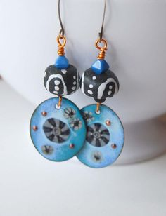 Enamel Earrings Blue Earrings Ethnic Earrings Glass by bstrung