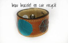Nice leather strap recycled from belt. cm in circumference attached cm in height Lovely on a wrist handle. Cuff Bracelets, Etsy Seller, Recycling, Creations, Canada, Leather, Crafts, Jewelry, Recycled Leather