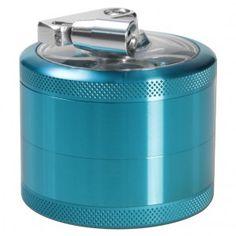 Aluminum Window Crank Herb Grinder - Light Blue - 63mm - 4-part