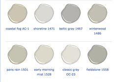 Designer Tricia Foley's Favorite Bejamin Moore Grays. For her favorite Whites and Neutrals ~ http://colorchats.benjaminmoore.com/2012/07/intrinsically-tricia-foley/