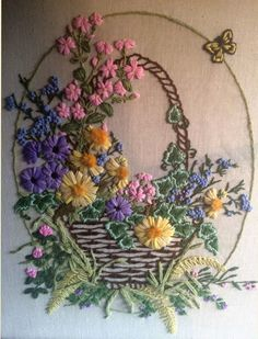 Wonderful Ribbon Embroidery Flowers by Hand Ideas. Enchanting Ribbon Embroidery Flowers by Hand Ideas. Hand Work Embroidery, Embroidery Flowers Pattern, Japanese Embroidery, Silk Ribbon Embroidery, Crewel Embroidery, Hand Embroidery Designs, Vintage Embroidery, Cross Stitch Embroidery, Band Kunst
