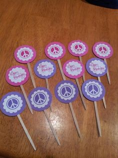 Pink and purple peace sign happy birthday cupcake toppers