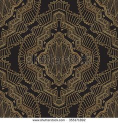 Geometrical abstract vector seamless art deco pattern from gold and black hand drawn rhombus, Eskimo ethnic ornaments, lacy zig-zag stripes. Textile fantasy print. Wrapping paper. Batik painting