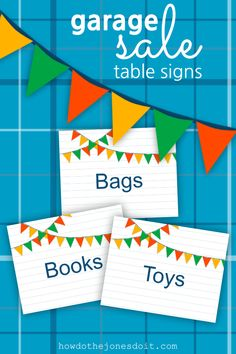 Do you need Garage Sale Table Signs? Without a doubt! What if you had 15 pretty table signs that would help you organize your sale AND help customers find what they're looking for? Yard Sale Signs, Garage Sale Signs, For Sale Sign, Garage Sale Organization, Sale Signage, Garage Sale Pricing, Making A Budget, Crafts To Sell, Selling Crafts