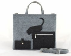 Laptop bag Laptop Felt Bag with a Cat, Messenger Grey big Size Felt Bag with Cat, Kitty, handbag, felted, anthracite, eco, shopping bag