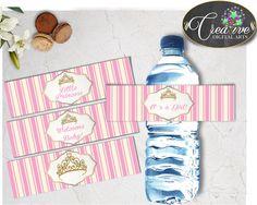 Royal Baby Shower WATER BOTTLE LABELS little princess printable, royal pink and gold crown, digital files Pdf Jpg, instant download - rp002 #babyshowerparty #babyshowerinvites