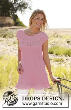 """Knitted DROPS tunic worked sideways in garter st with lace pattern in """"Safran"""". Size: S - XXXL ~ DROPS Design"""