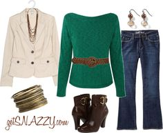 """""""Belted Sweater - Turquoise & Browns"""" by getsnazzy ❤ liked on Polyvore"""