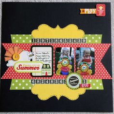 #papercraft #scrapbook #layout Sunshine, Scrapbook Layout - love the bright colors against the black background