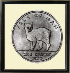 Isle of Man coin with Manx cat