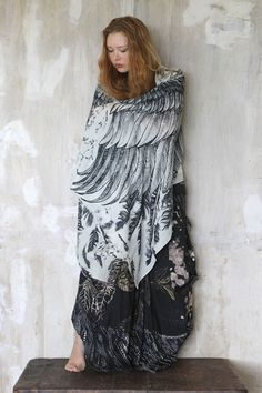Cashmere White Women scarf, Hand painted printed Wings and feathers, stunning unique and useful, perfect gift