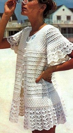 Crochet Blusas Patterns Misses Lace Beach Dress, Cover Up Vintage Crochet Pattern PDF Gilet Crochet, Crochet Jacket, Crochet Cardigan, Crochet Shawl, Knit Crochet, Crochet Summer, Beach Crochet, Crochet Bikini, Crochet Sweaters
