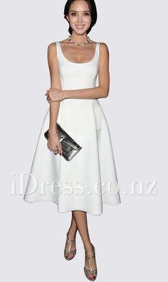 sleeveless scoop neck tea length ivory satin prom dress