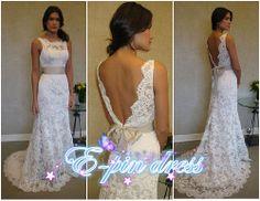 lace wedding dress-wedding dress /lace fishtail wedding dress/ mermaid style wedding dress custom size 110708