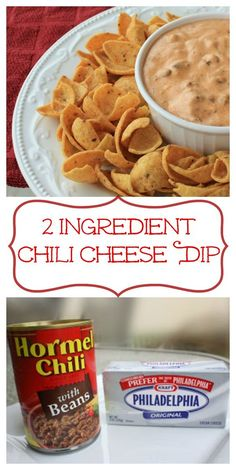 2 Ingredient Chili Cheese Dip - easy dip with Frito's or tortilla chips Yummy Appetizers, Appetizer Recipes, Snack Recipes, Cooking Recipes, Party Recipes, Easy Dip Recipes, Cooking Tips, Chip Dip Recipes, Bacon Recipes