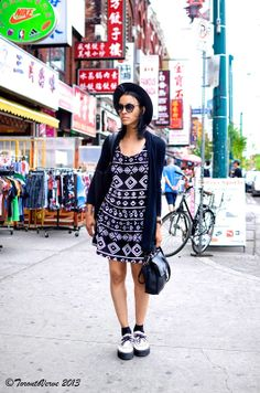 "Mariko: ""My style today is sorta 90's punk tribal. My inspiration is Japanese street style and pilgrims. It's a weird combination. Japanese street style puts anything together and it kinda works, and I really enjoy the classicness of what pilgrims wear.""  Mariko is no stranger to TorontoVerve. I first captured her street style 3 years ago and she prominently appears in our banner."