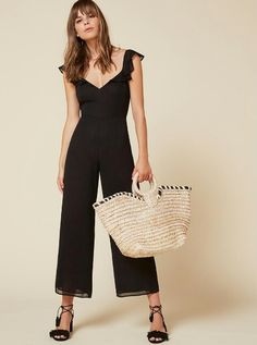Jumpsuit, ruffle top and relaxed straight leg bottom