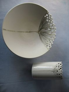 Porcelain bowl and cup inspired by nature  |  Artist:  Beryl Hole…