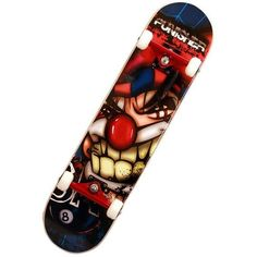 Punisher Skateboards Jester 31-Inch Double Kicktail Pro Skateboard -... ($70) ❤ liked on Polyvore featuring skateboard